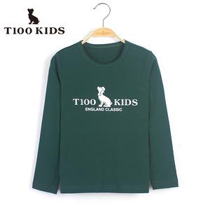 t100童装 男童基本款T恤秋装百搭t恤休闲纯色儿童打底衫93210211