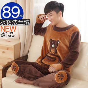 秋季男士冬季法兰绒睡衣套装卡通长袖加厚加绒珊瑚绒睡衣男家居服