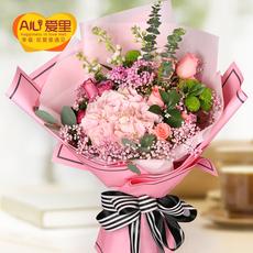 绣球小雏菊粉玫瑰鲜花速递生日花束北京深圳上海西安合肥成都广州