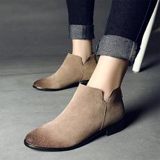 夏季短靴女单靴潮真皮英伦风学院及踝靴拉链磨砂特大码短靴41-43