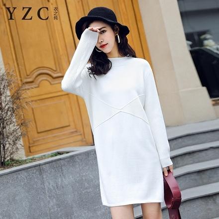 衣之纯中长款套头毛衣女秋冬新款韩版半高领纯色宽松长袖针织衫