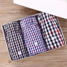 三条装阿罗裤男士纯棉宽松透气大码平角内裤夏季青年运动家居睡裤