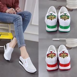 2017新款小白鞋女韩版百搭坡跟女鞋休闲鞋夏季透气网鞋内增高板鞋