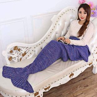 7 Colors Yarn Knitted Mermaid Tail Blanket Super Soft Sleepi