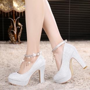 婚纱鞋白色婚鞋女高跟水晶鞋银色新娘鞋粗跟伴娘鞋中跟结婚礼鞋子