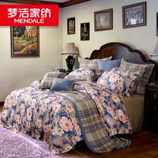 梦洁磨毛田园纯棉床单式床上用品植物花卉品被套活性印花四件套
