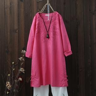 复古民族风 刺绣盘扣中长款棉麻连衣裙长袖宽松纯色女裙子春夏款