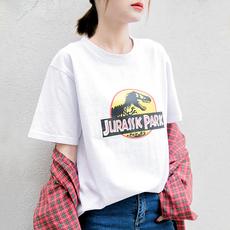2017韩国卡通恐龙动物印花宽松短袖T恤女夏学生半袖打底衫体恤潮