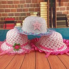 儿童帽子韩版夏季花边女宝宝草帽 女童防晒帽婴儿遮阳帽编织凉帽