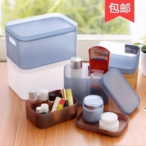 桌面收纳盒化妆品盒子办公室塑料小置物架护肤品透明整理盒化妆盒化妆品收纳盒
