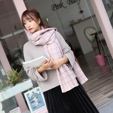 韩国学生秋冬围巾女百搭潮加厚格子保暖仿羊绒两用披肩围脖包邮