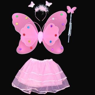 儿童万圣节服装女童天使蝴蝶翅膀四件套魔法棒玩具舞会套装