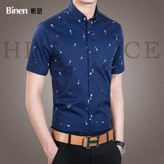 夏季男士短袖半袖时尚印花衬衫韩版男装修身青年商务休闲寸衬衣潮