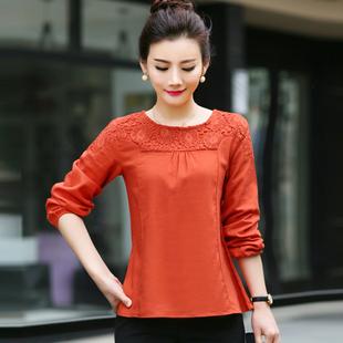 春秋季韩版宽松大码棉麻长袖打底衫女式衬衫亚麻蕾丝上衣潮T恤