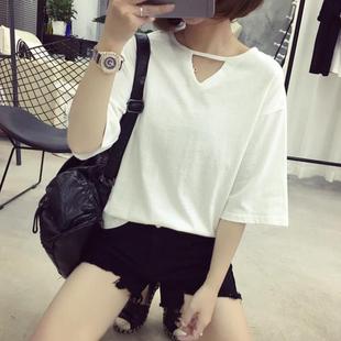 韩国半袖女装新款潮春夏装简约纯色短袖t恤女宽松学生中袖上衣服