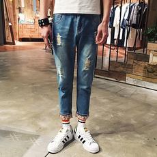 破洞牛仔裤男装哈伦男士夏季9九分裤男式小脚修身韩版港风潮薄款