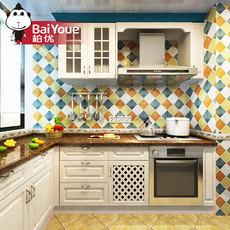 特权订金 柏优 整体橱柜定做 欧式厨房橱柜定制实木橱柜全屋定制