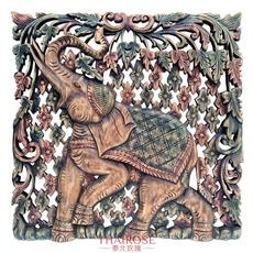 泰国柚木雕花板 60cm正方形 大象植物花卉 红绿怀旧复古色 可定做