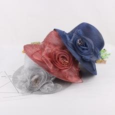 韩版女士夏季超轻欧根纱盆帽凉帽户外防晒遮阳帽花朵可折叠渔夫帽