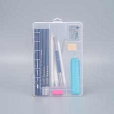 素描单层收纳盒可插片多功能透明文具盒绘画美术文具用品