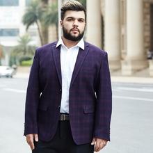 加肥加大码胖子男装西服外套超大号宽松版肥佬格子西装单件上衣男