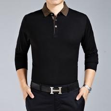 2016春款中年男士纯色翻领品质高档打底针织软毛衣体恤衫薄款T恤
