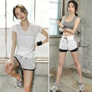 韩国春夏季健身房运动套装女网纱速干衣瑜珈服跑步显瘦短裤三件套瑜伽服