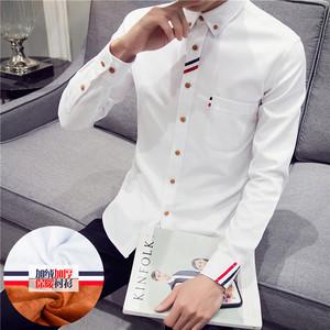 男士长袖衬衫加绒加厚青少年百搭韩版修身牛津纺寸衫保暖白色衬衣长袖衬衫男