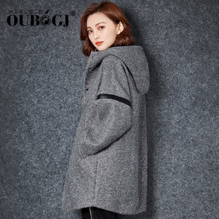 OUBOGJ毛呢外套女韩版中长款2016冬季新款宽松休闲连帽灰色呢大衣