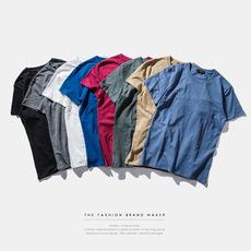 2016夏季竹节棉男装圆筒短袖T恤打底衫男士基本款纯色文化衫青年