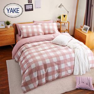 简约格子纯棉四件套1.5m1.8床上用品全棉宿舍三件套单人床单被套三件套床单