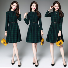 秋冬长袖 女显瘦修身 气质韩版 裙子 格子连衣裙中长款 2018春秋装 新款