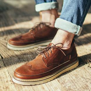 布洛克男鞋子英伦男士休闲皮鞋冬季潮鞋2016新款板鞋加绒保暖棉鞋