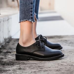 英伦风女鞋2018春新款系带复古黑色小皮鞋女平底牛津单鞋学院风