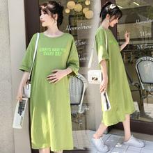 孕妇连衣裙韩版 孕妇装 2019新款 夏天裙子中长款 潮妈短袖 t恤夏装