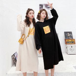 2019新款春夏装长款连帽薄款韩版宽松纯棉学生过膝卫衣连衣裙女。