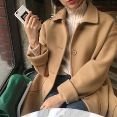 韩国2017冬季新款中长款驼色呢子大衣女学生单排扣黑色毛呢外套厚
