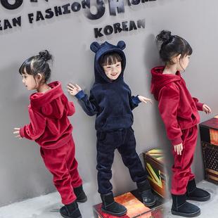 女童金丝绒套装2016冬装新款韩版儿童宝宝秋冬款童装加绒加厚卫衣