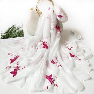围巾韩版女刺绣薄民族风绣花丝巾女白色纱巾女超长款春秋雪纺纱巾