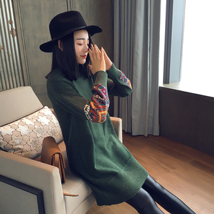 2016冬新款花袖民族风套头高领毛衣女中长款螺纹袖加厚针织打底衫