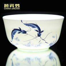景德镇陶瓷器釉中彩青花瓷碗碟中式28/56头骨瓷餐具套装碗盘家用