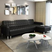 简适轩现代小户型客厅转角pu沙发组合功能皮艺守菊鄣沙发床整装