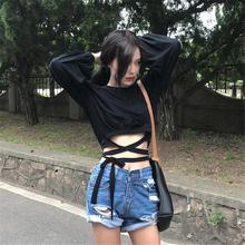 秋装韩版女装ulzzang露脐宽松短款上衣长袖绑带T恤显瘦打底衫学生