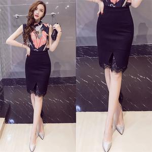 2018夏装新款蕾丝半身裙<span class=H>黑色</span>高腰大码包臀裙春职业<span class=H>短裙</span>修身一步裙
