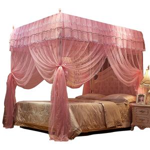 欧式方顶蚊帐1.5m加密加厚公主风1.8m米床三开门双人家用宫廷落地蚊帐