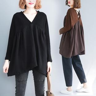 秋季大码女装200斤胖mm上衣V领文艺针织衫长袖拼接宽松遮肚子毛衣