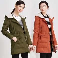 鸭鸭旗舰店冬装新款连帽羽绒服女中长款修身时尚保暖棉衣外套女装