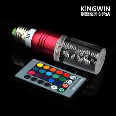 自动变色rgb水晶柱形灯泡七彩灯泡室内氛围节能灯智能遥控e27螺口