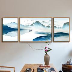 水墨靠山客厅装饰画风水新中式沙发背景墙挂画意境山水三联画墙画