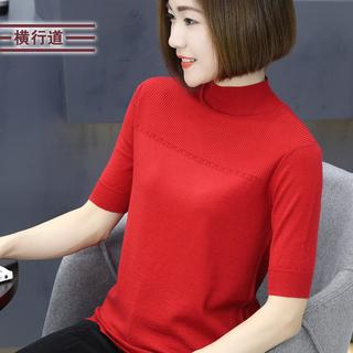 2018春装新款五分袖半高领羊毛衣针织打底衫宽松女装外穿中袖上衣